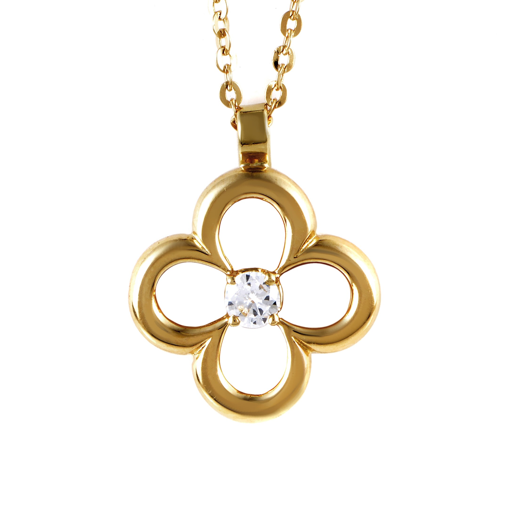 Van Cleef & Arpels Vintage 18K Yellow Gold Diamond Pendant Necklace