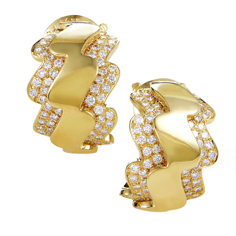 Van Cleef & Arpels Women's 18K Yellow Gold Diamond Zigzag Clip-on Earrings