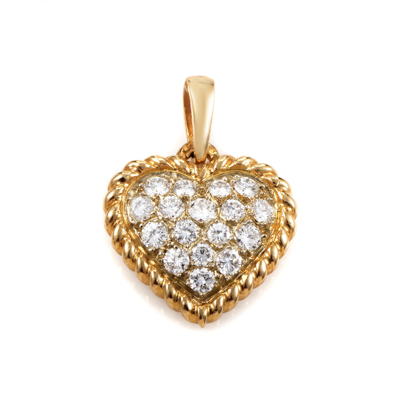 Van Cleef & Arpels 18K Yellow Gold Diamond Pave Heart Pendant