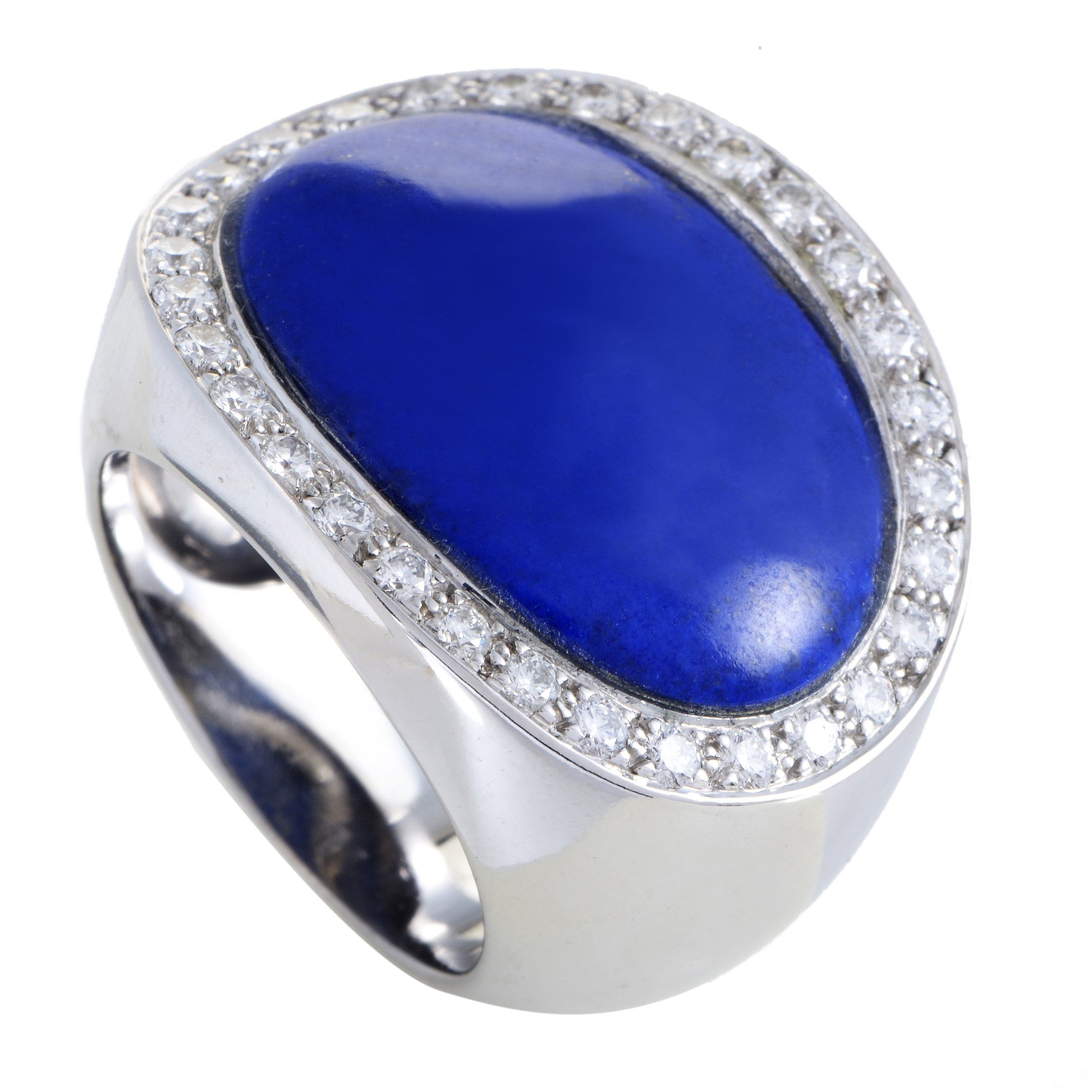 Van Cleef & Arpels Women's 18K White Gold Diamond & Lapis Ring