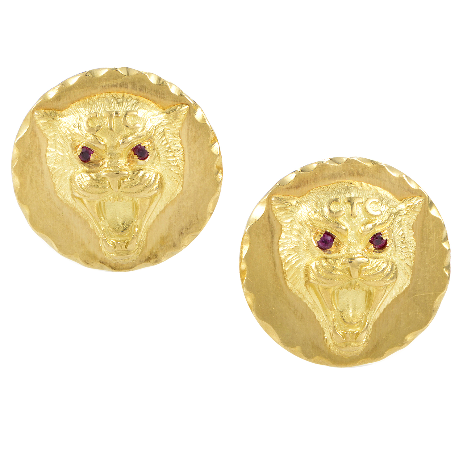 Van Cleef & Arpels Men's 18K Yellow Gold & Ruby Wildcat Cufflinks