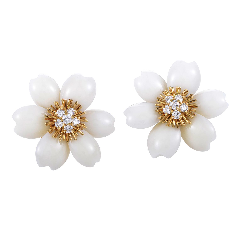 Van Cleef & Arpels Rose de Noël 18K Gold Diamond & White Coral Clip-on Earrings