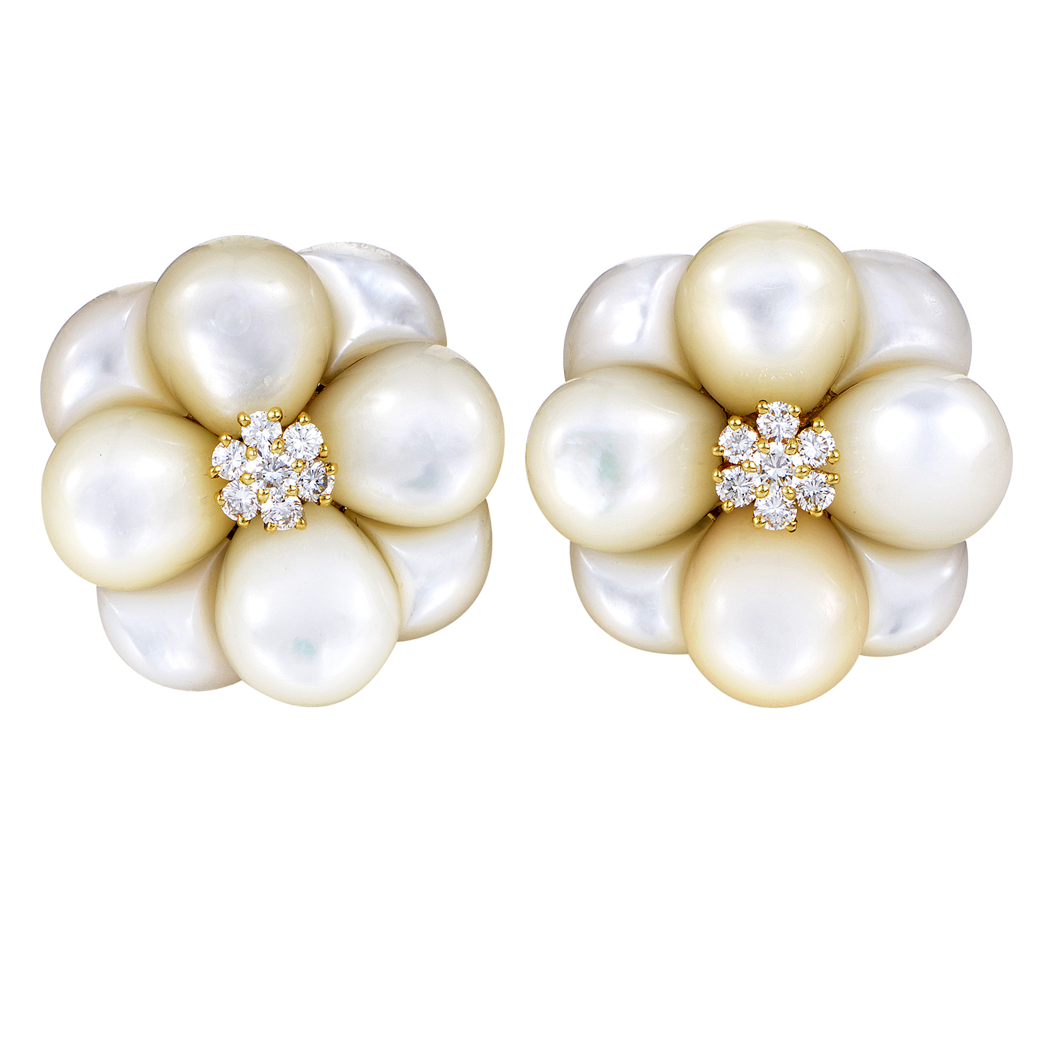 Van Cleef & Arpels 18K Yellow Gold Diamond & Mother of Pearl Flower Earrings