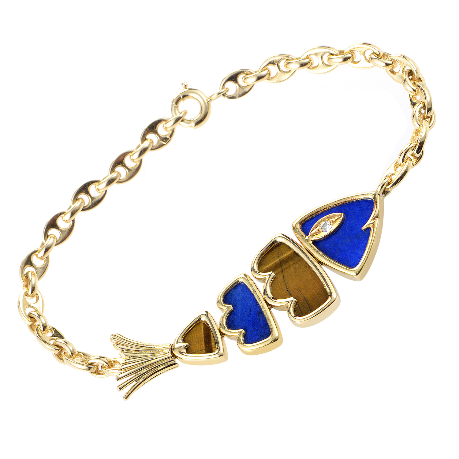 Van Cleef & Arpels 18K Yellow Gold Lapis Lazuli  & Tiger's Eye Fish Bracelet