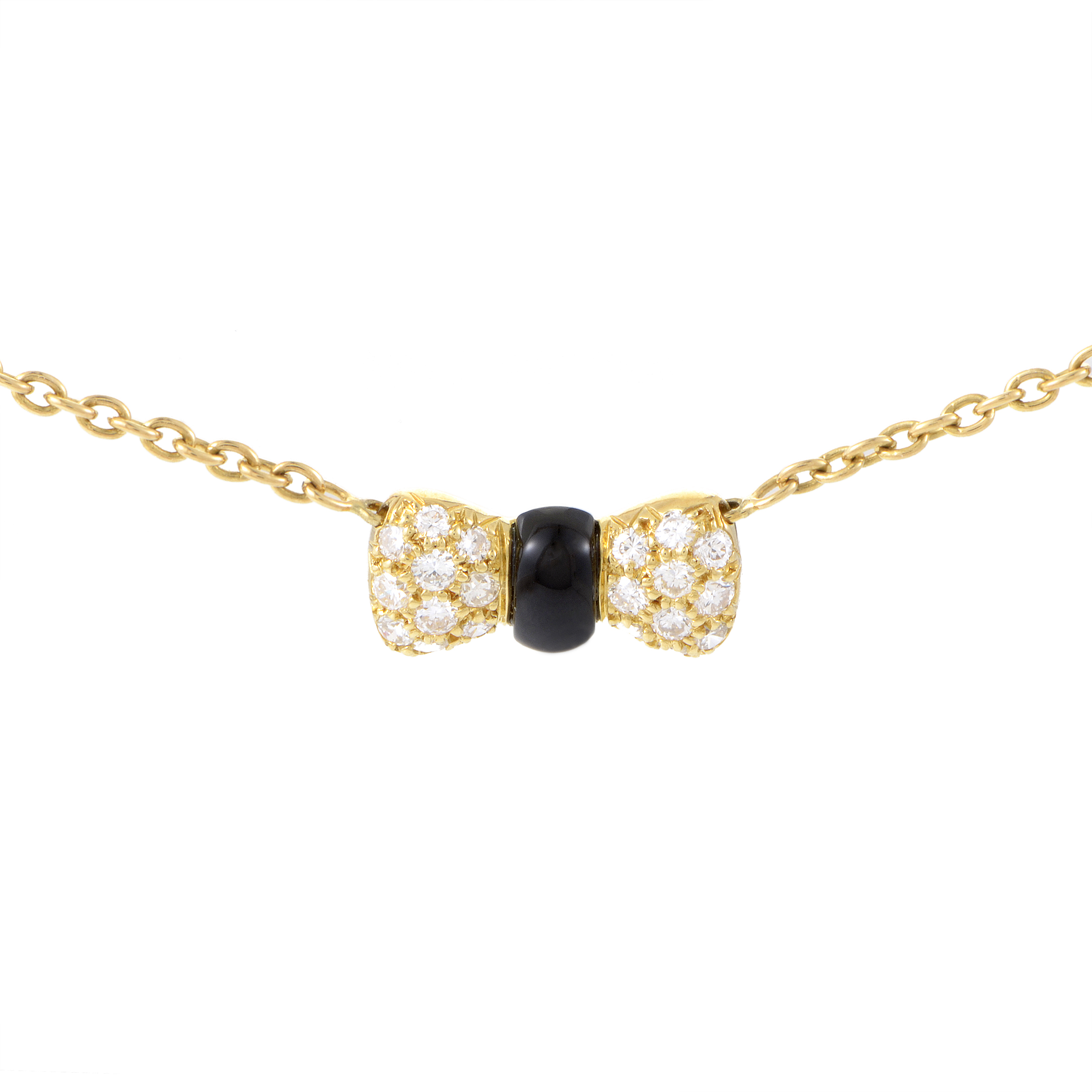 Van Cleef & Arpels Women's 18K Yellow Gold Diamond & Onyx Bow Pendant Necklace
