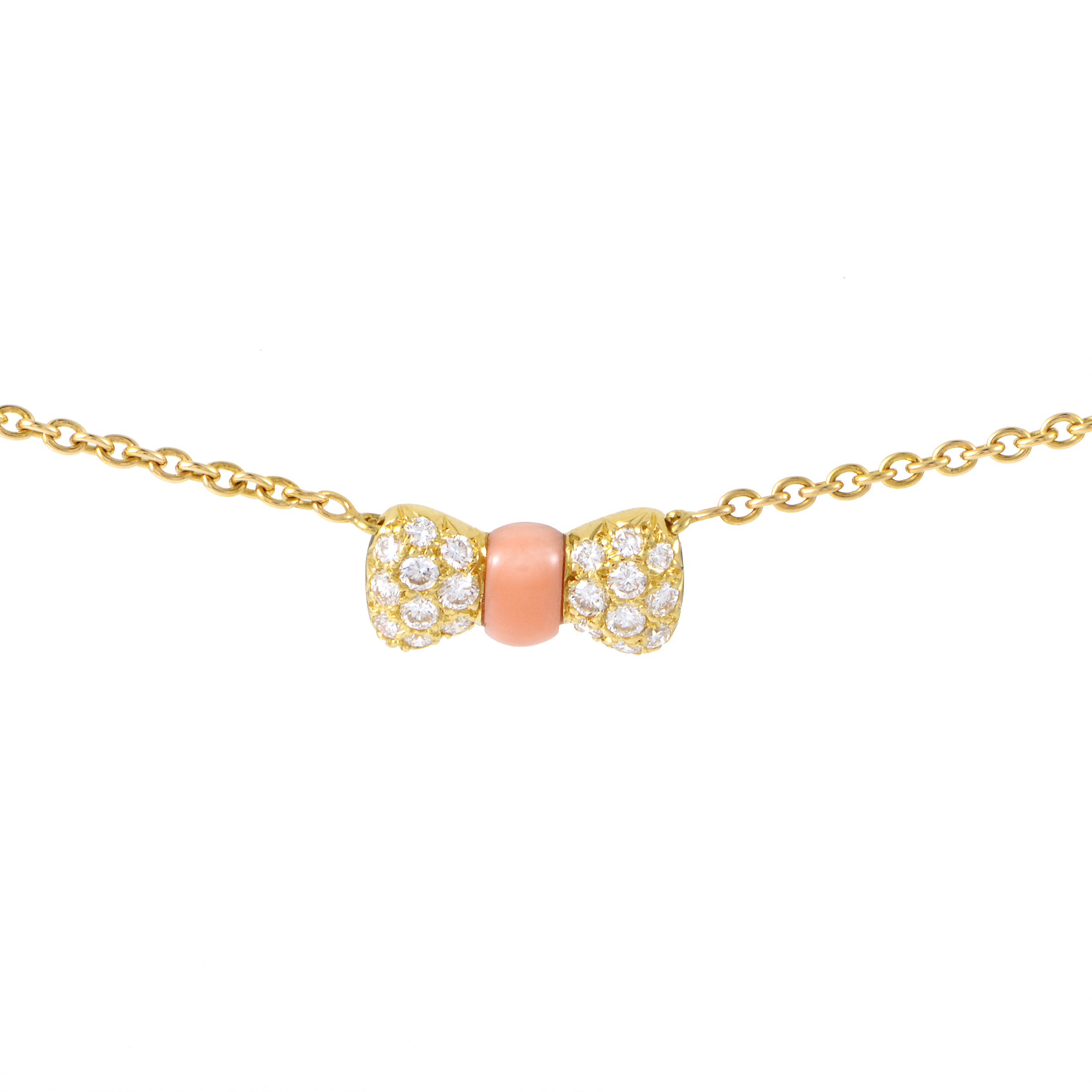 Van Cleef & Arpels 18K Yellow Gold Diamond & Coral Bow Pendant Necklace