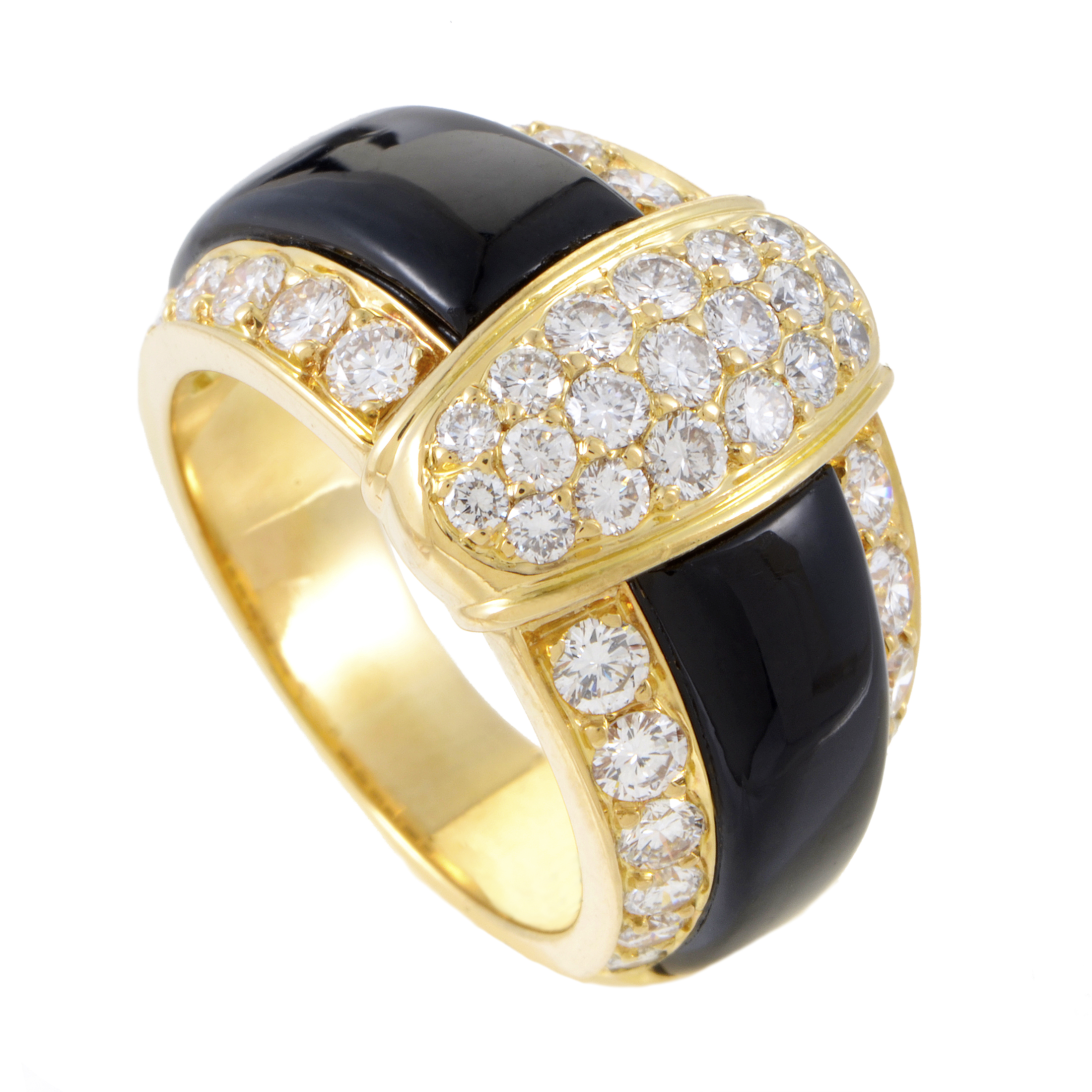 Van Cleef & Arpels Women's 18K Yellow Gold Diamond & Onyx Band Ring