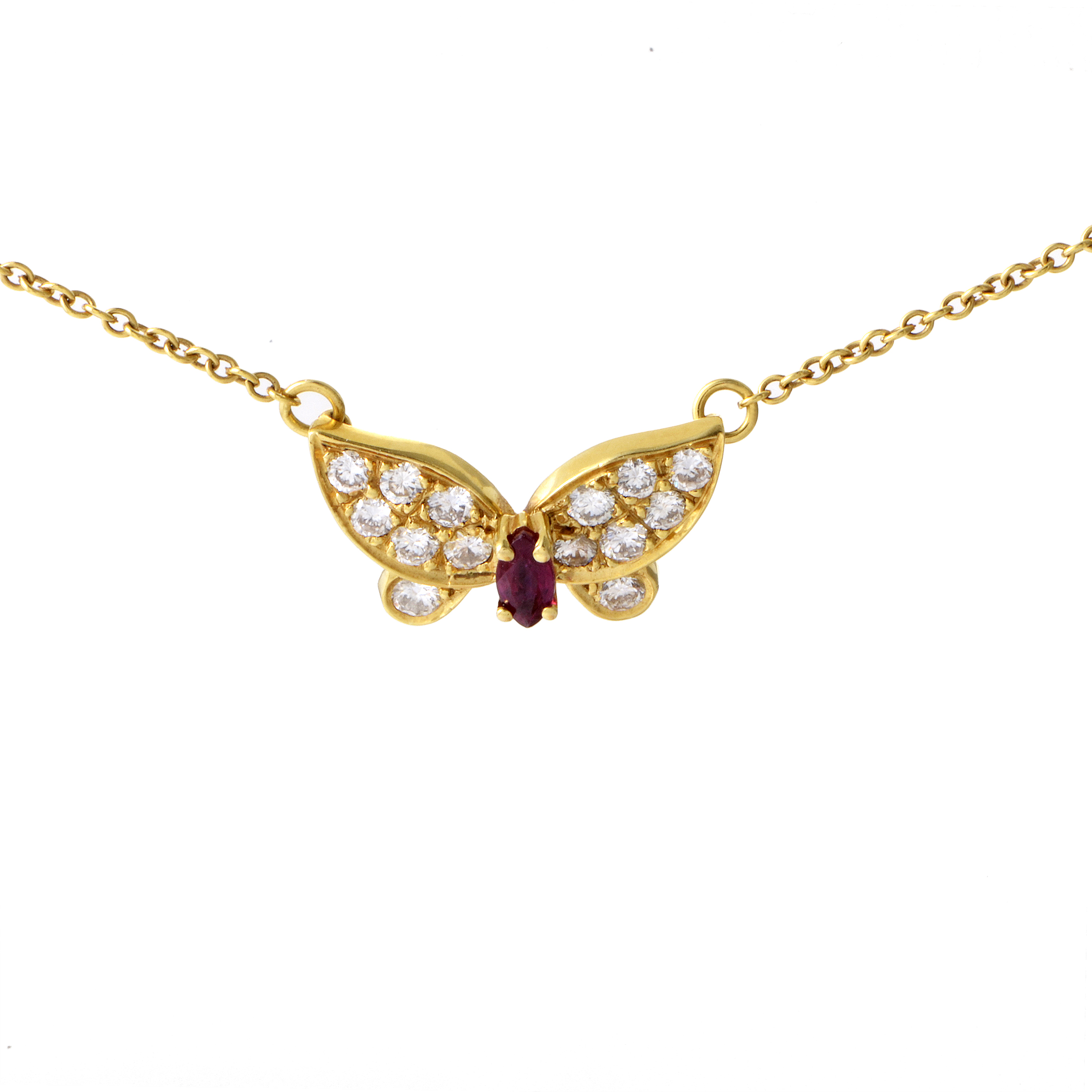 Van Cleef & Arpels Women's Yellow Gold Diamond & Ruby Butterfly Pendant Necklace
