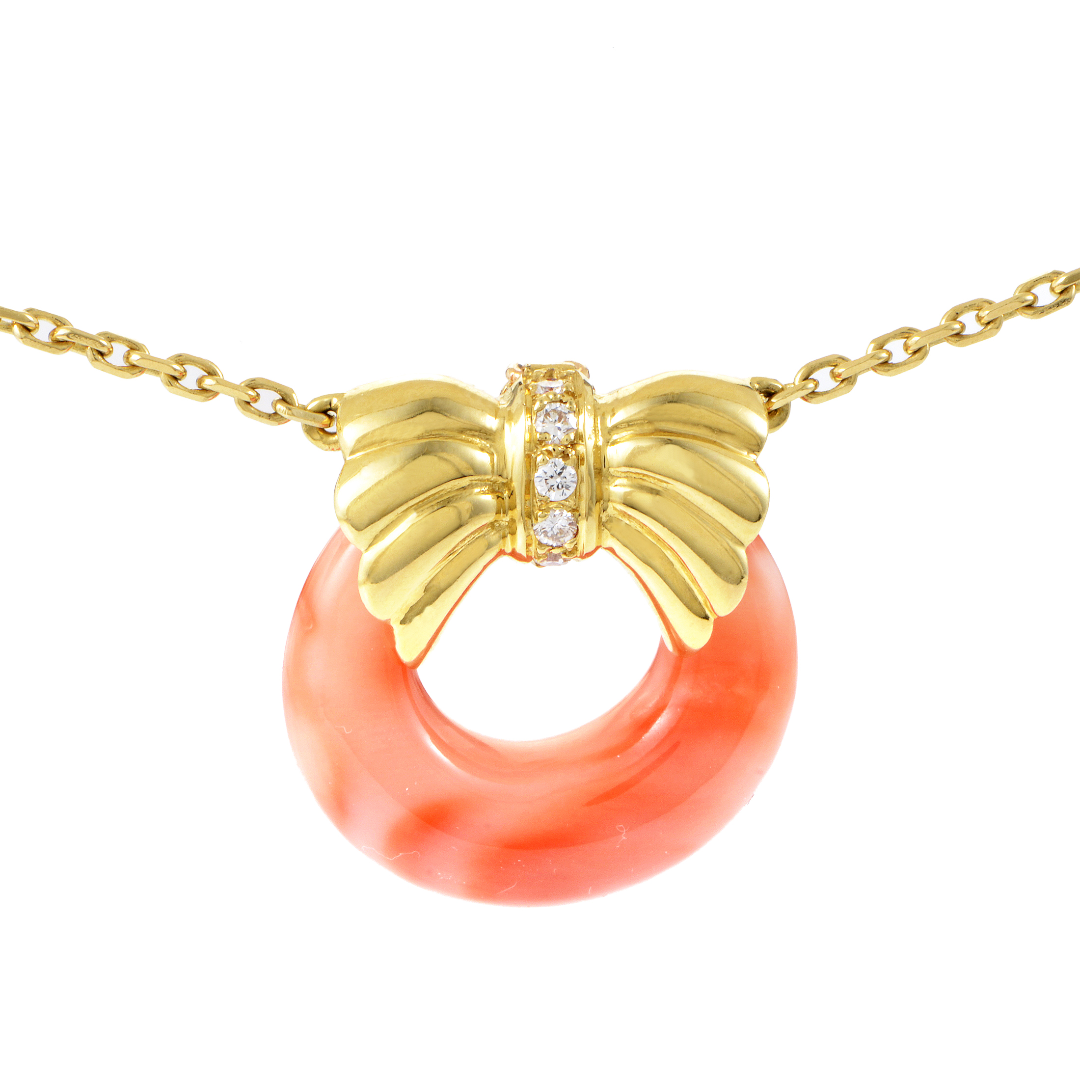 Van Cleef & Arpels Women's 18K Yellow Gold Diamond & Coral Pendant Necklace