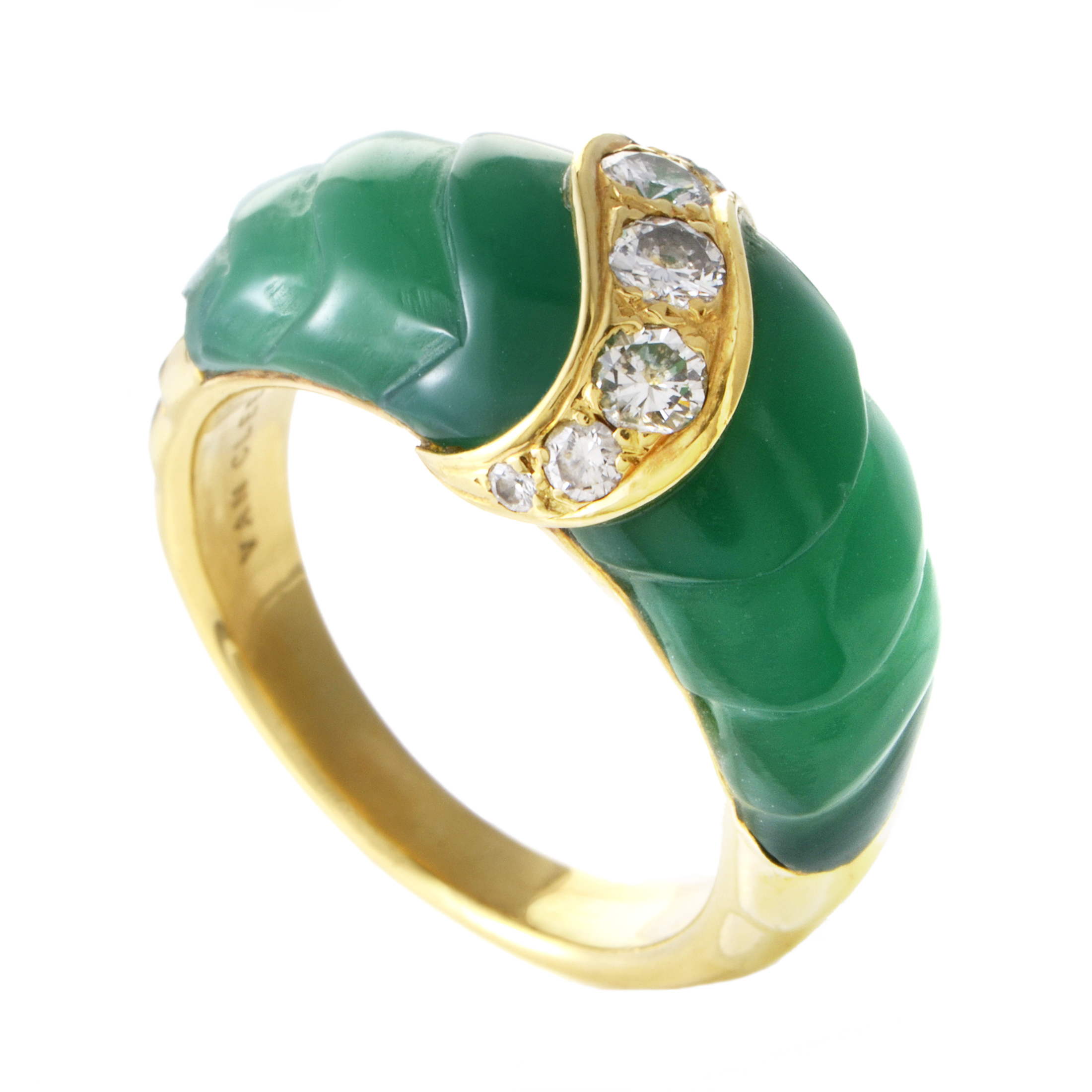 Van Cleef & Arpels Women's 18K Yellow Gold Diamond & Chrysoprase Band Ring