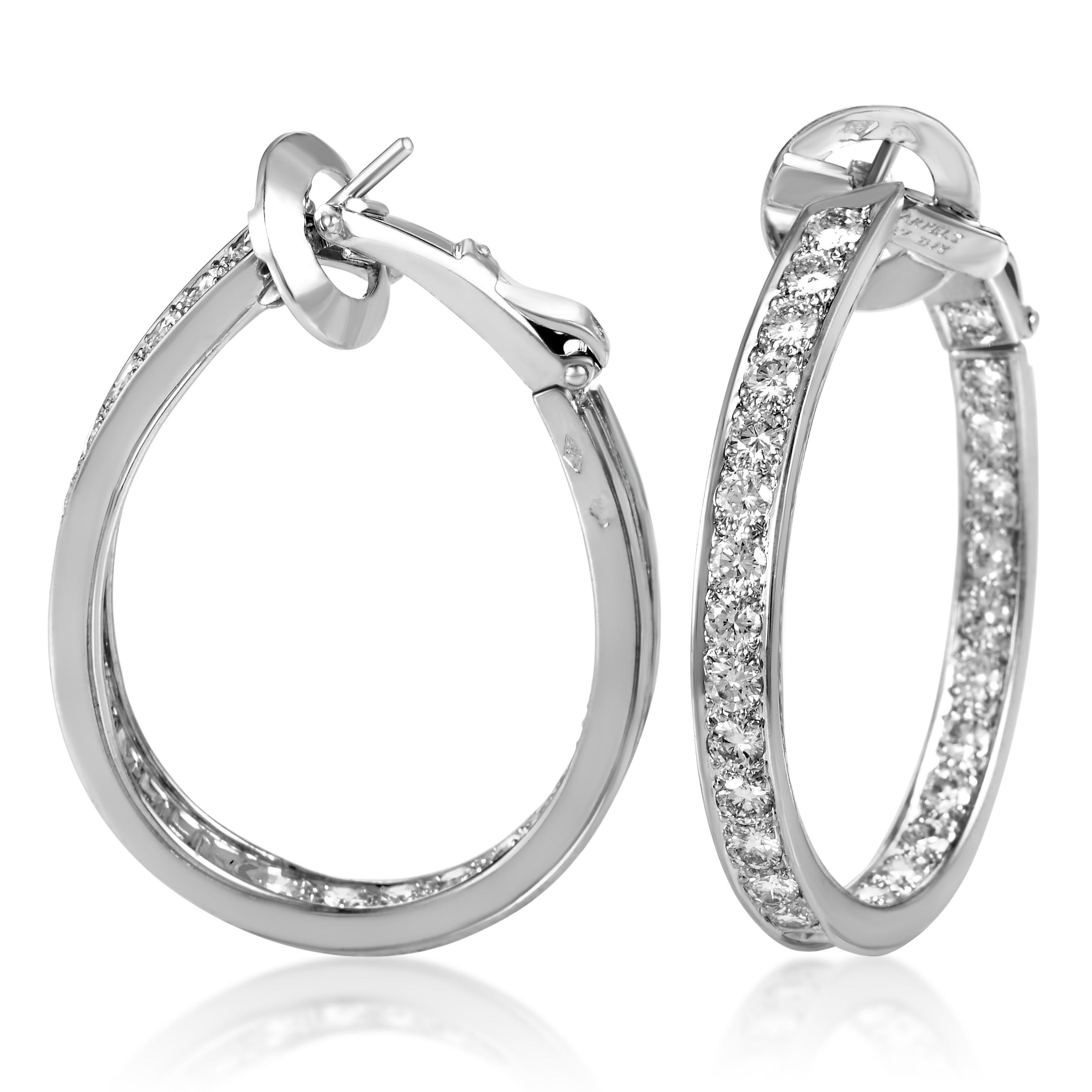 Van Cleef & Arpels Women's 18K White Gold Diamond Hoop Earrings