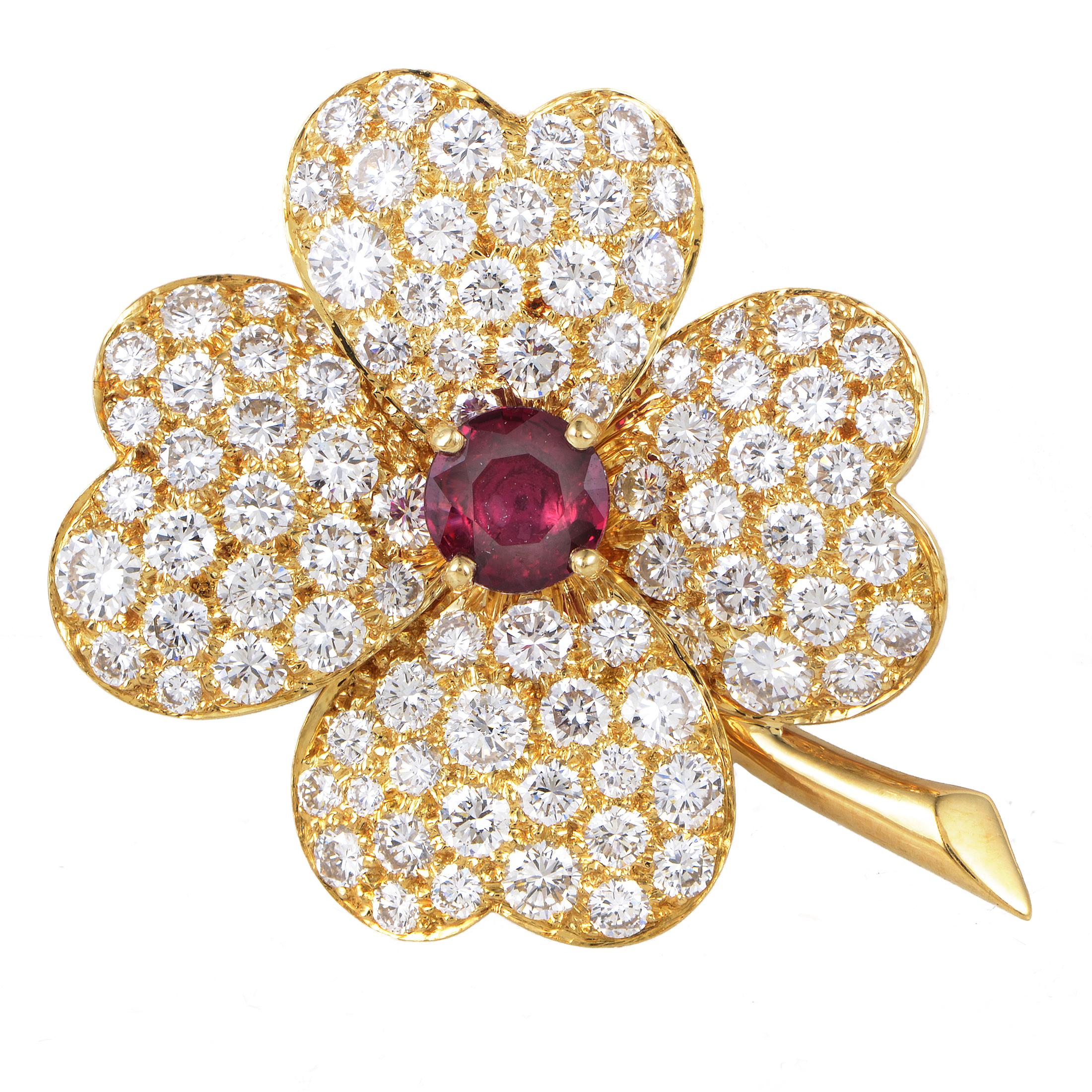 Van Cleef & Arpels Vintage Cosmos 18K Yellow Gold Diamond & Ruby Pendant/Brooch