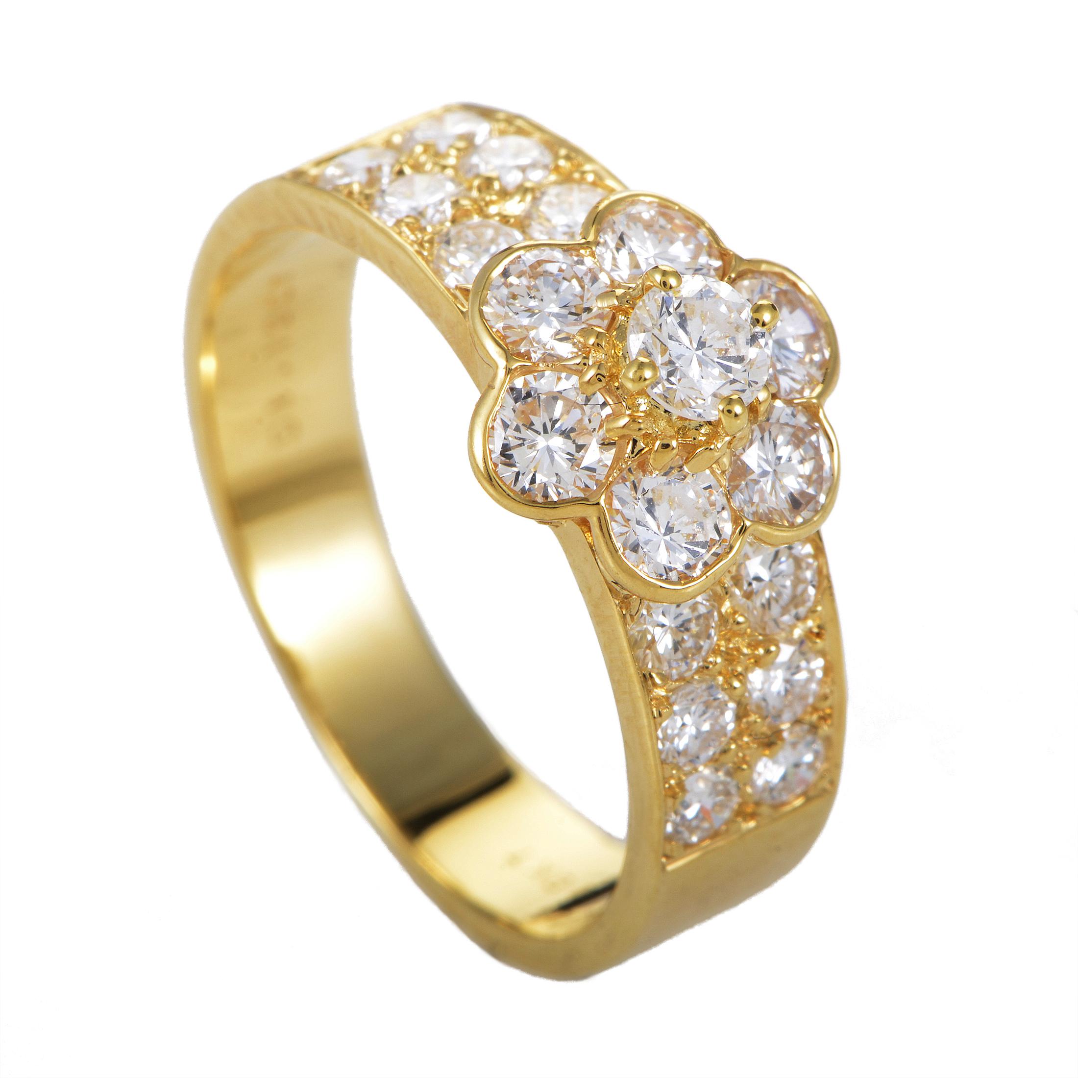 Van Cleef & Arpels Fleurette Women's 18K Yellow Gold & Diamond Ring