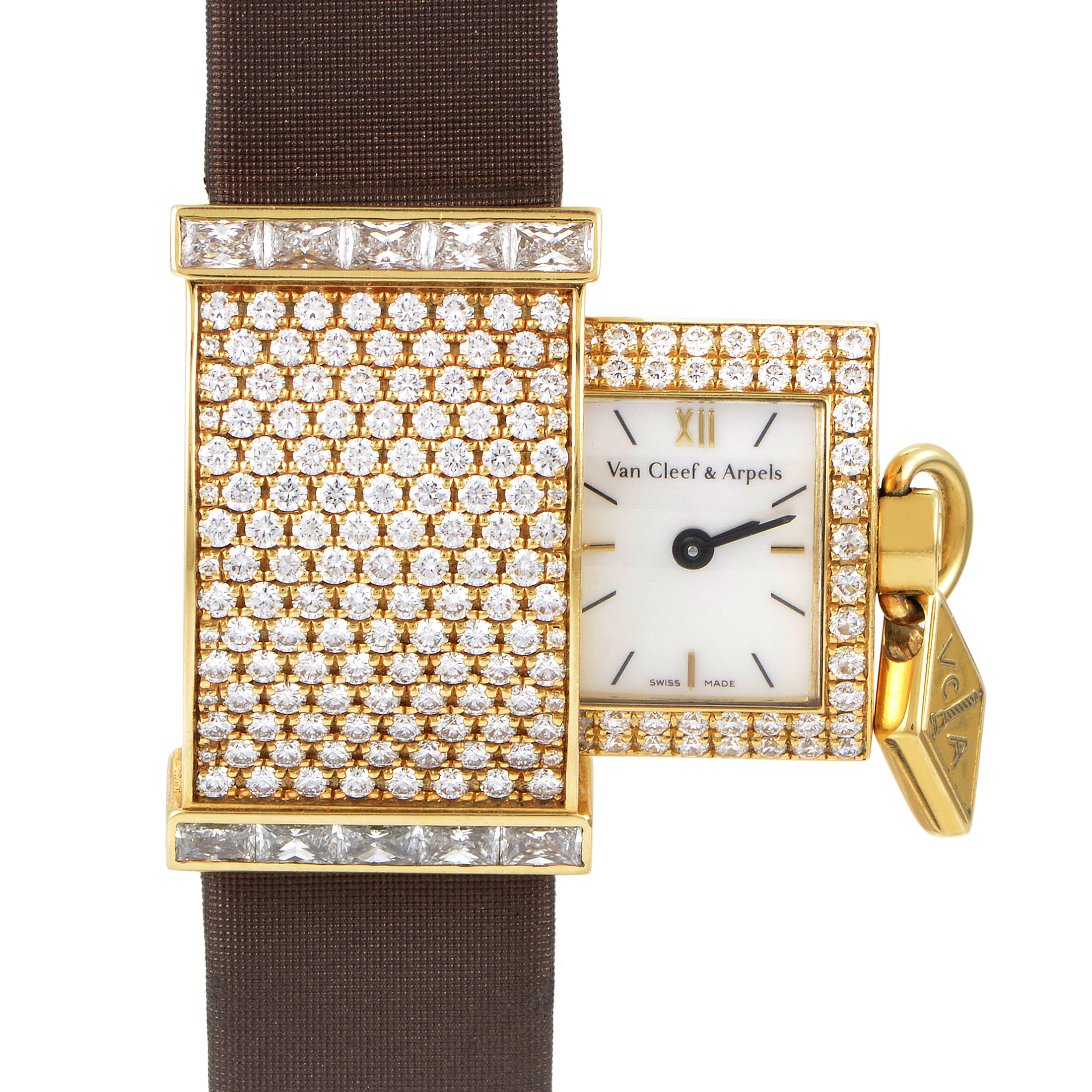 Van Cleef & Arpels Secret Pavée Women's 18K Yellow Gold Diamond Watch