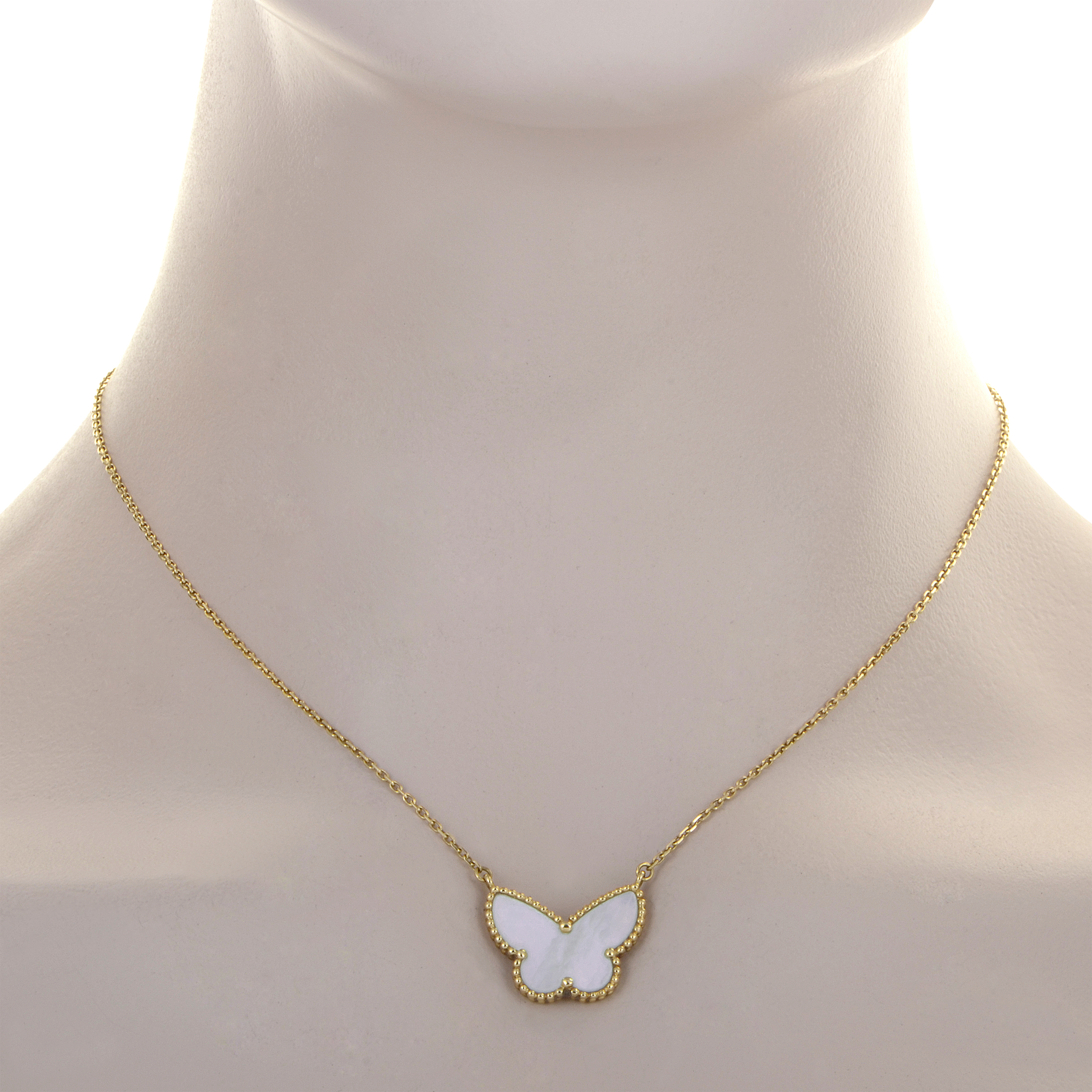 Van Cleef And Arpels Mother Of Pearl Necklace: Van Cleef & Arpels 18K Yellow Gold Mother Of Pearl