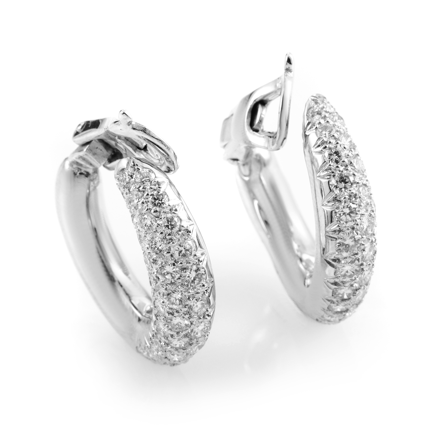 Van Cleef & Arpels 18K White Gold Diamond Pave Hoop Earrings