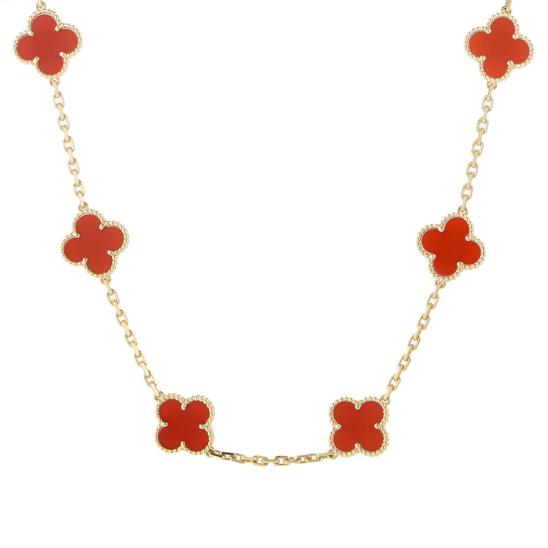 Alhambra 18K Yellow Gold 10 Motif Carnelian Necklace