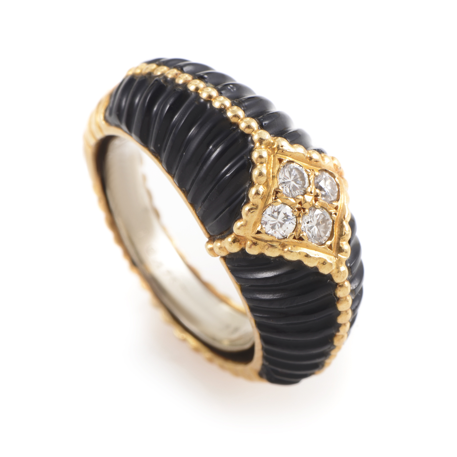 Van Cleef & Arpels 18K Yellow Gold Diamond & Onyx Band