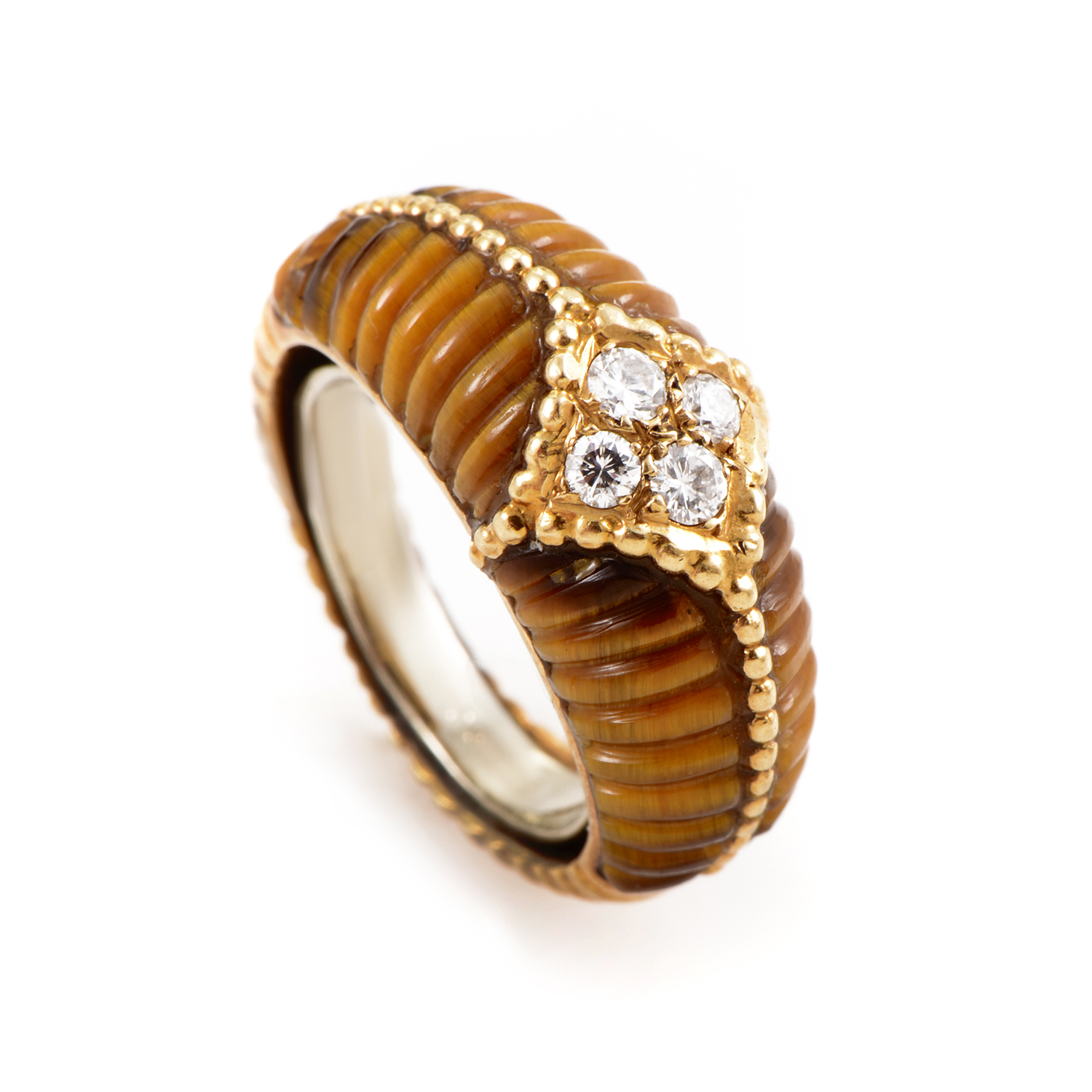 Van Cleef & Arpels Womens 18K Yellow Gold Diamond and Tiger's Eye Band Ring