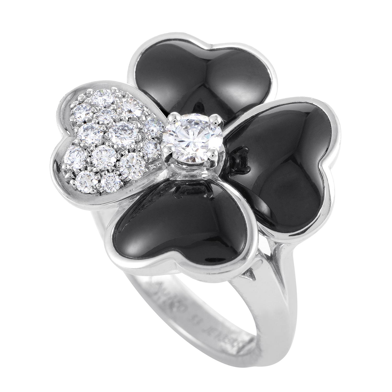Van Cleef & Arpels Cosmos Women's 18K White Gold Diamond & Onyx Ring