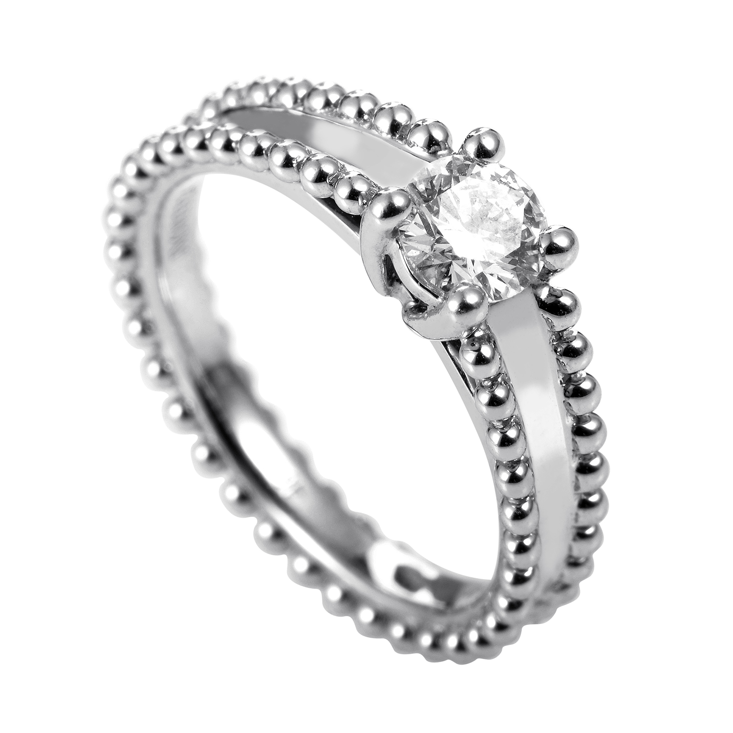 Van Cleef & Arpels Perlée Platinum .31ct Diamond Solitaire Engagement Ring