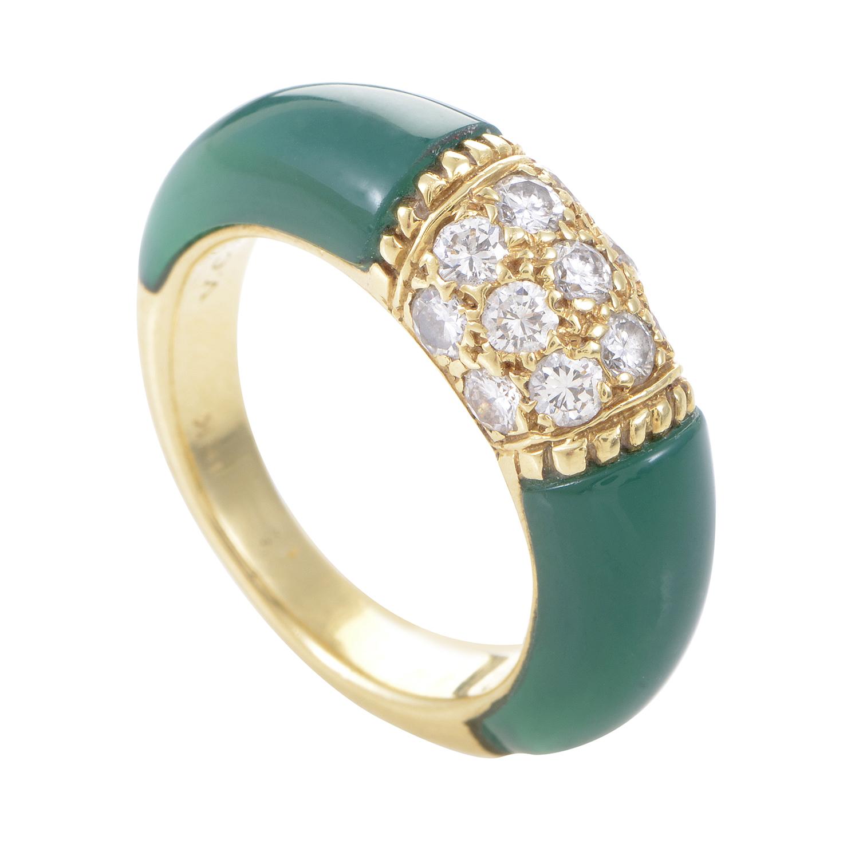 Van Cleef & Arpels Women's 18 Yellow Gold Diamond & Chrysoprase Band Ring
