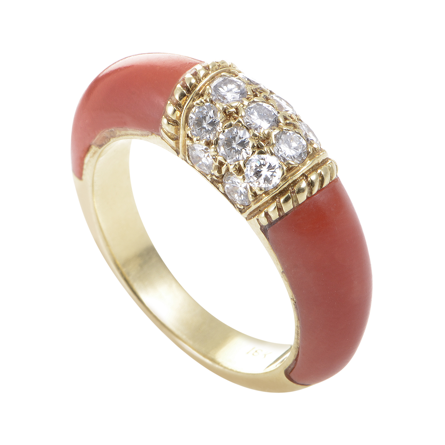 Van Cleef & Arpels Women's 18K Yellow Gold Diamond & Coral Band Ring