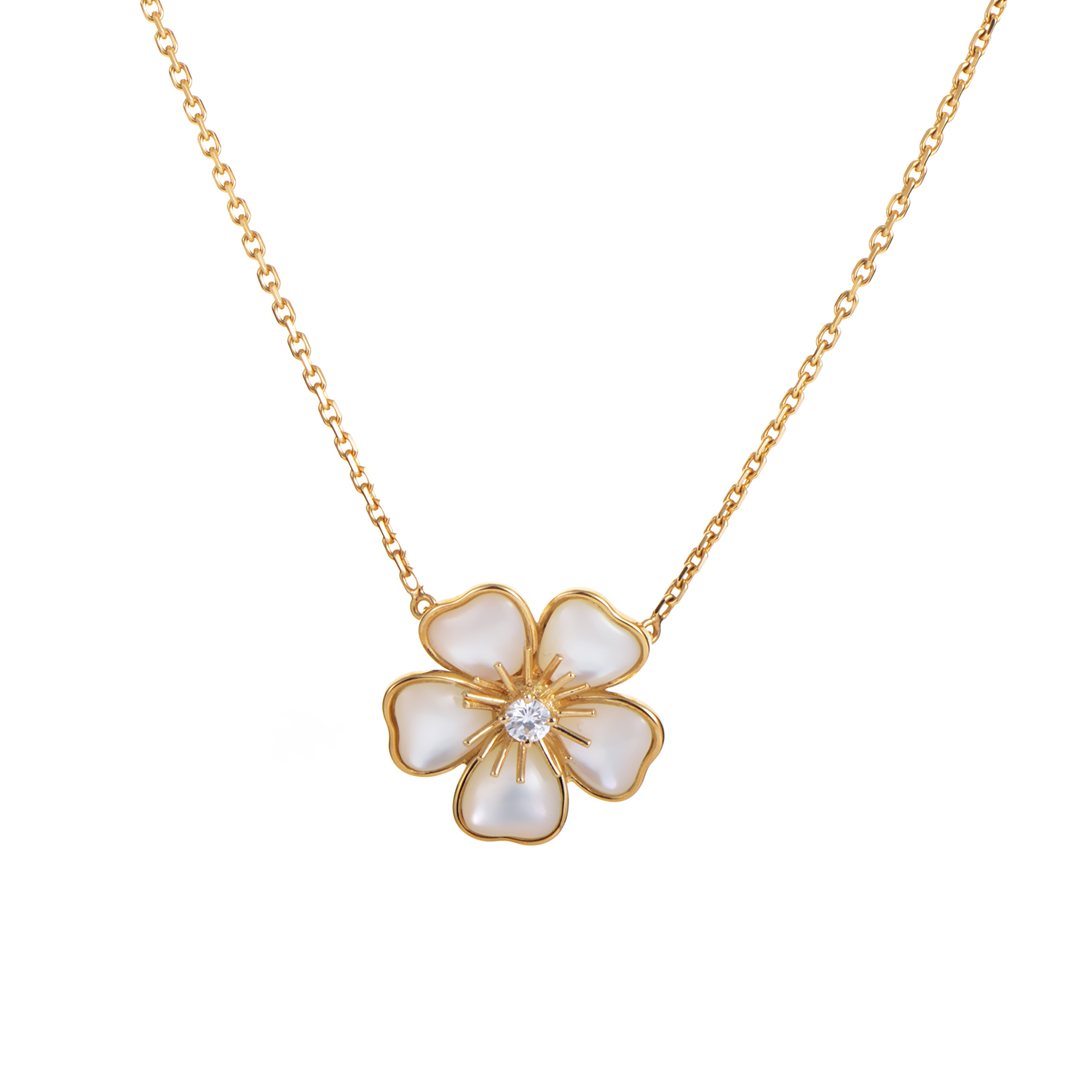 Van Cleef & Arpels Mimi Nerval 18K Yellow Gold Mother of Pearl Flower Necklace