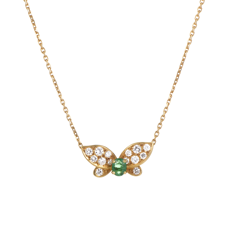 Van Cleef & Arpels 18K Yellow Gold Diamond & Emerald Butterfly Pendant Necklace