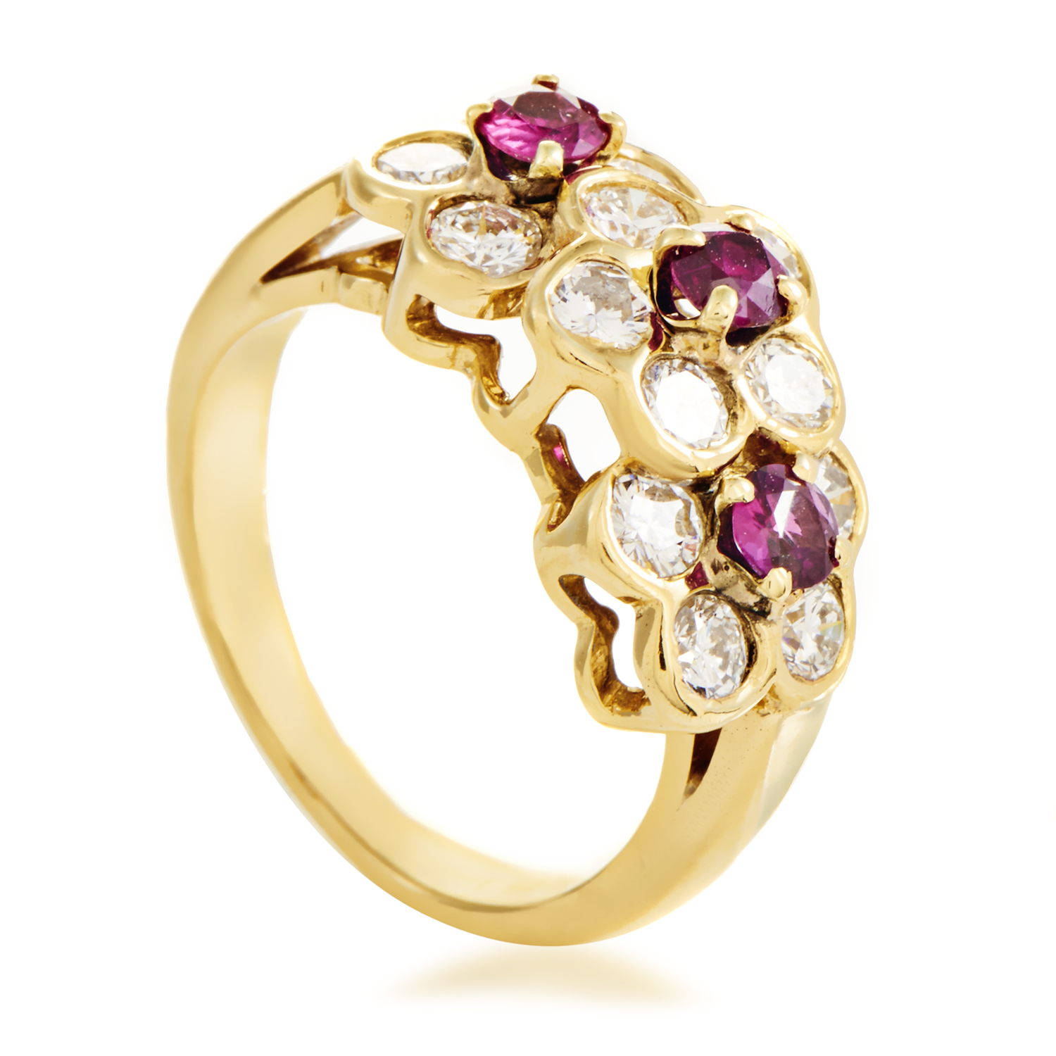 Van Cleef & Arpels Women's 18K Yellow Gold Diamond & Ruby Flowers Band Ring