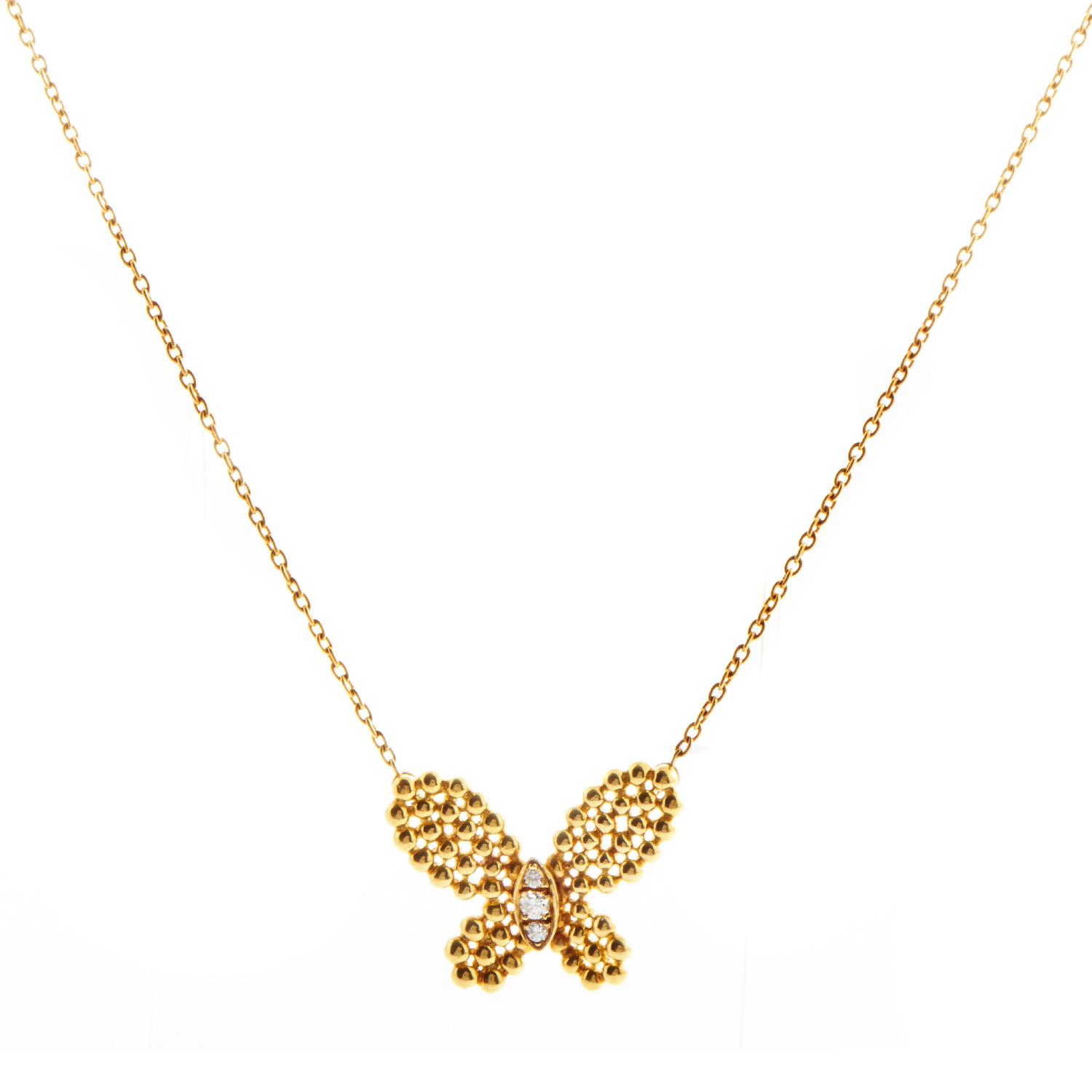 Van Cleef & Arpels Women's 18K Yellow Gold Diamond Butterfly Pendant Necklace