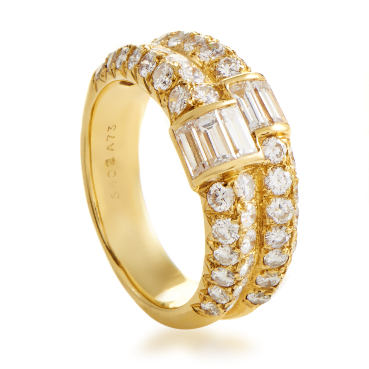 Van Cleef & Arpels Women's 18K Yellow Gold Multi-Diamond Split Band Ring