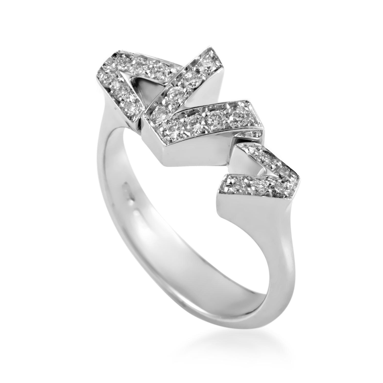 Women's V-Divine 18K White Gold Diamond 3-V Ring