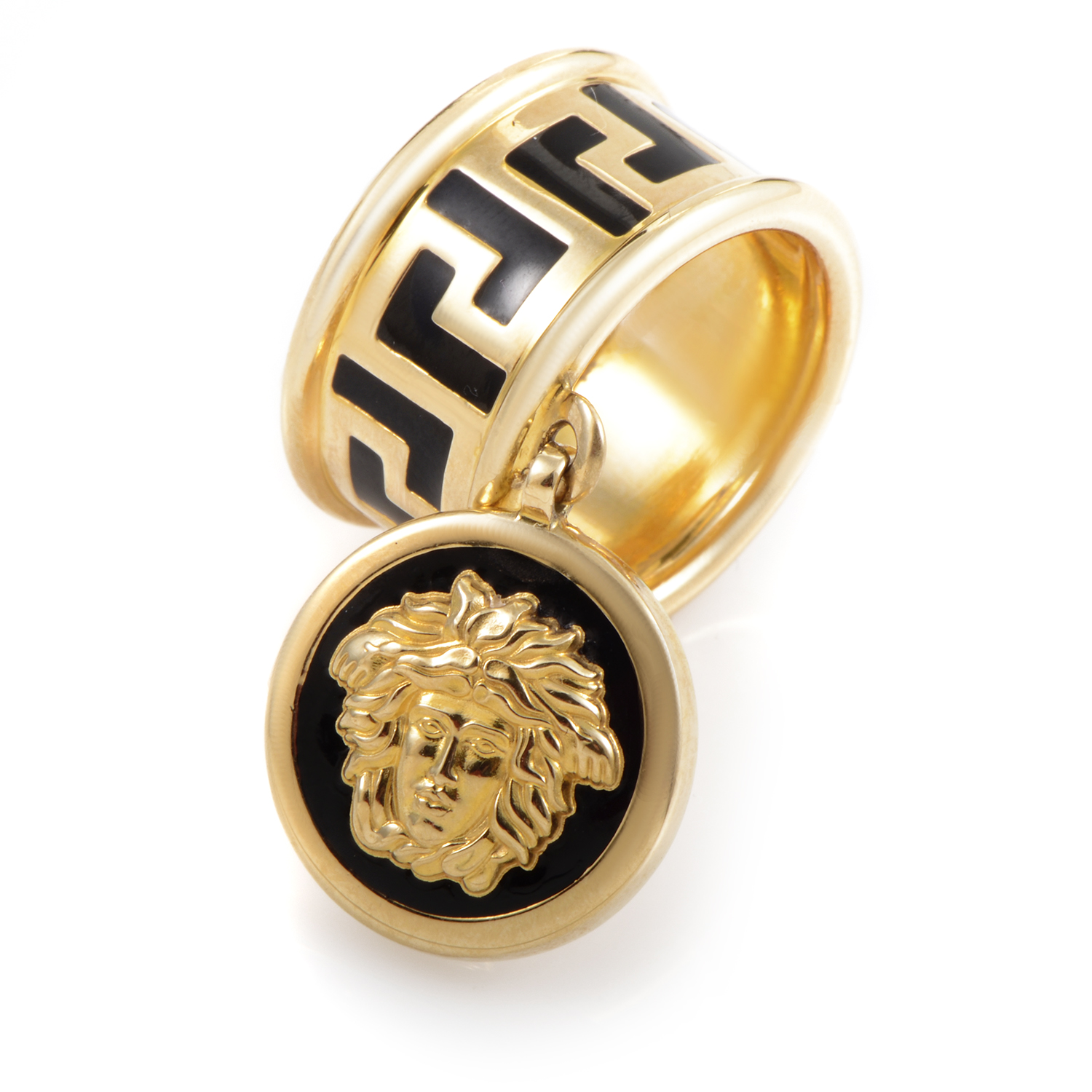 Versace 18K Yellow Gold Enamel Medusa Head Charm Ring