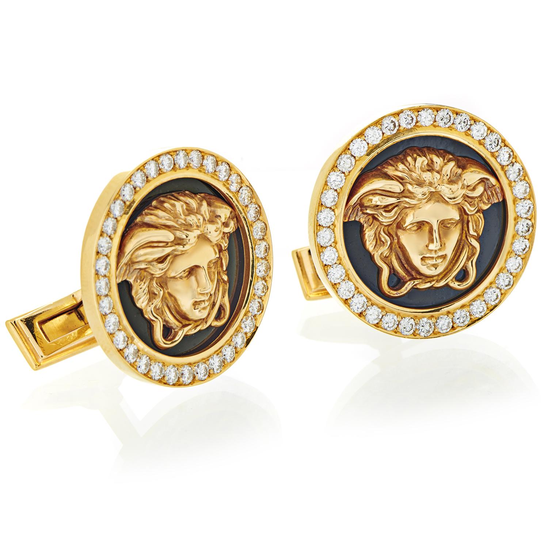 Versace Men's 18K Yellow Gold Diamond & Black Enamel Cufflinks