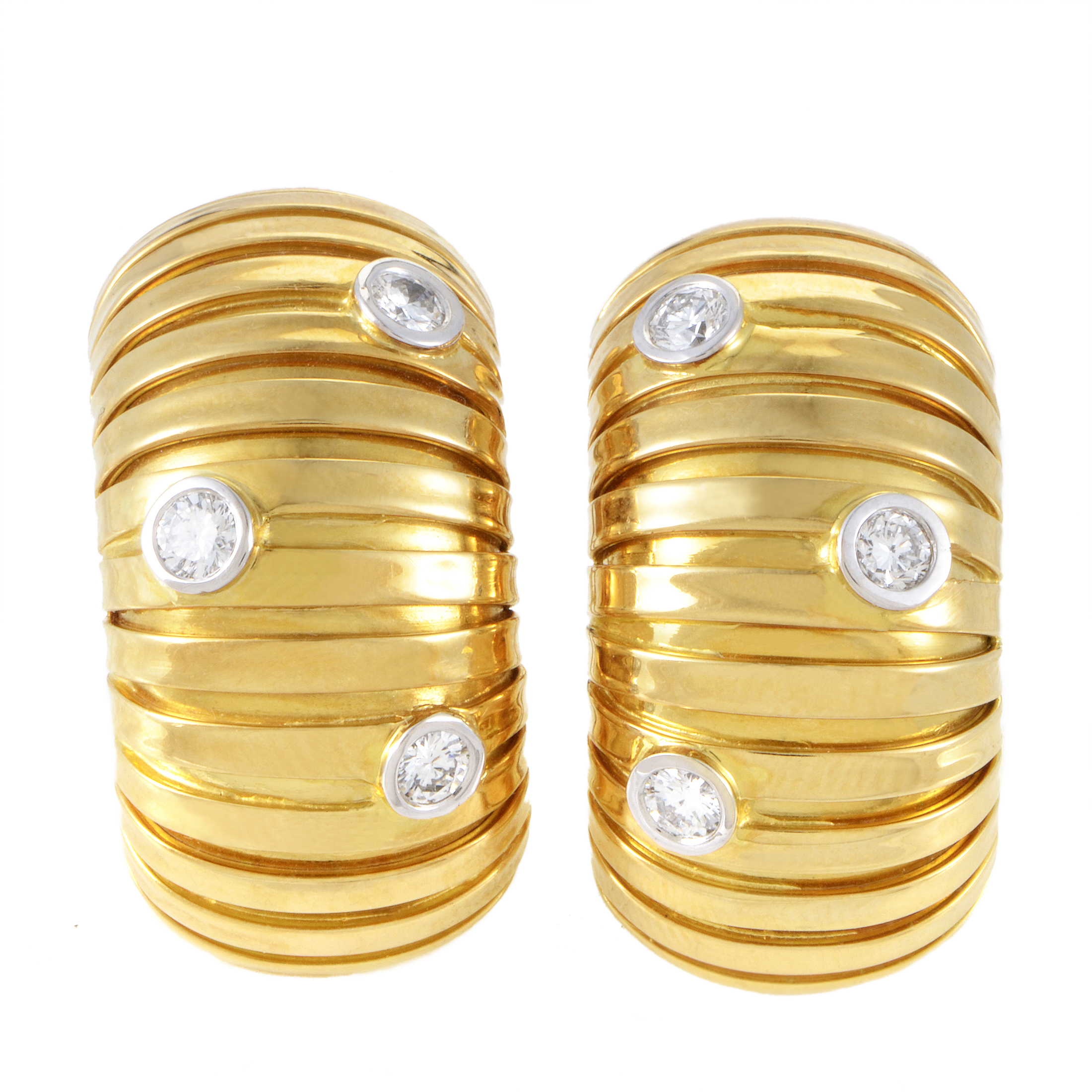 Carlo Weingrill Women's 18K Multi-Tone Gold Diamond Huggie Earrings