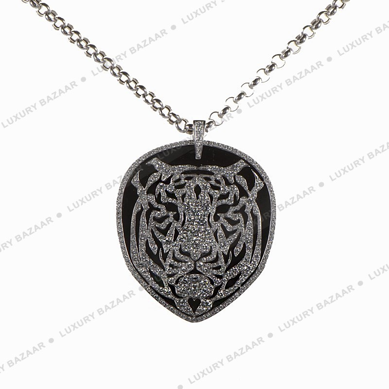18K White Gold & Diamond Bestiario Tiger Necklace