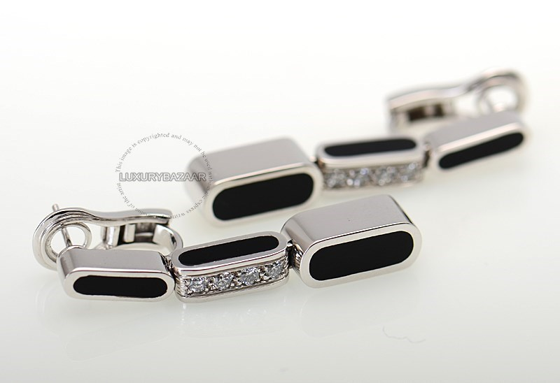 18K White Gold Diamond  & Onyx Earrings