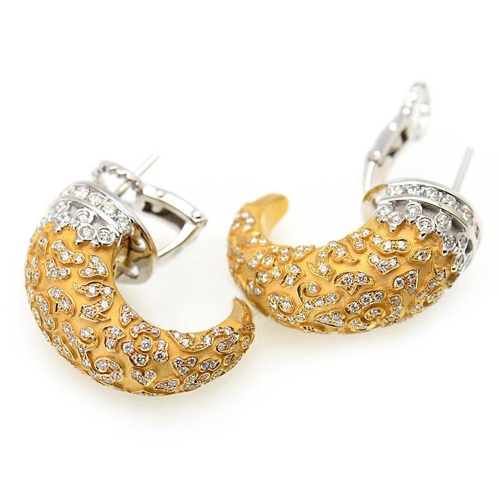 Ava 18K White Yellow Gold Diamond Earrings