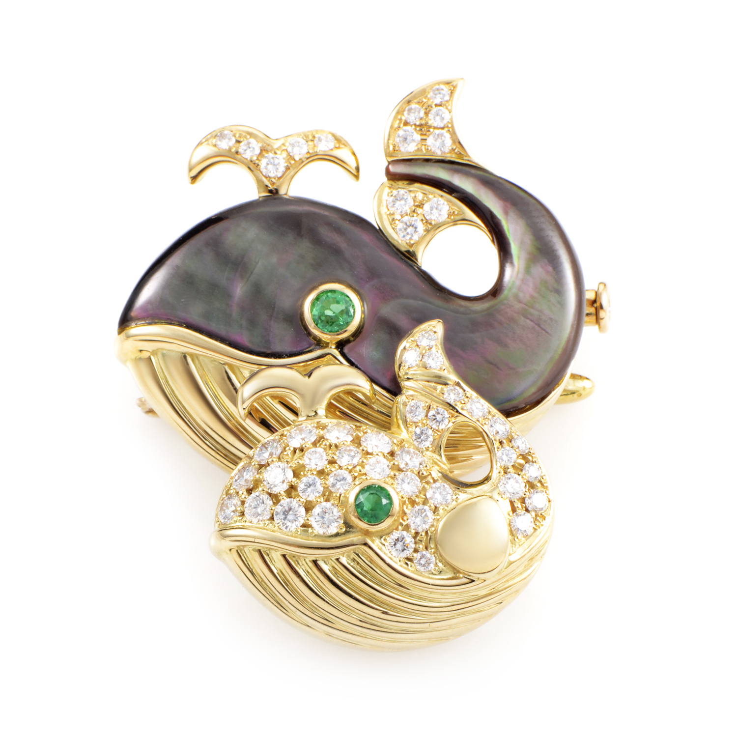 Waltham Women's 18K Yellow Gold Precious Gemstone Whale Brooch