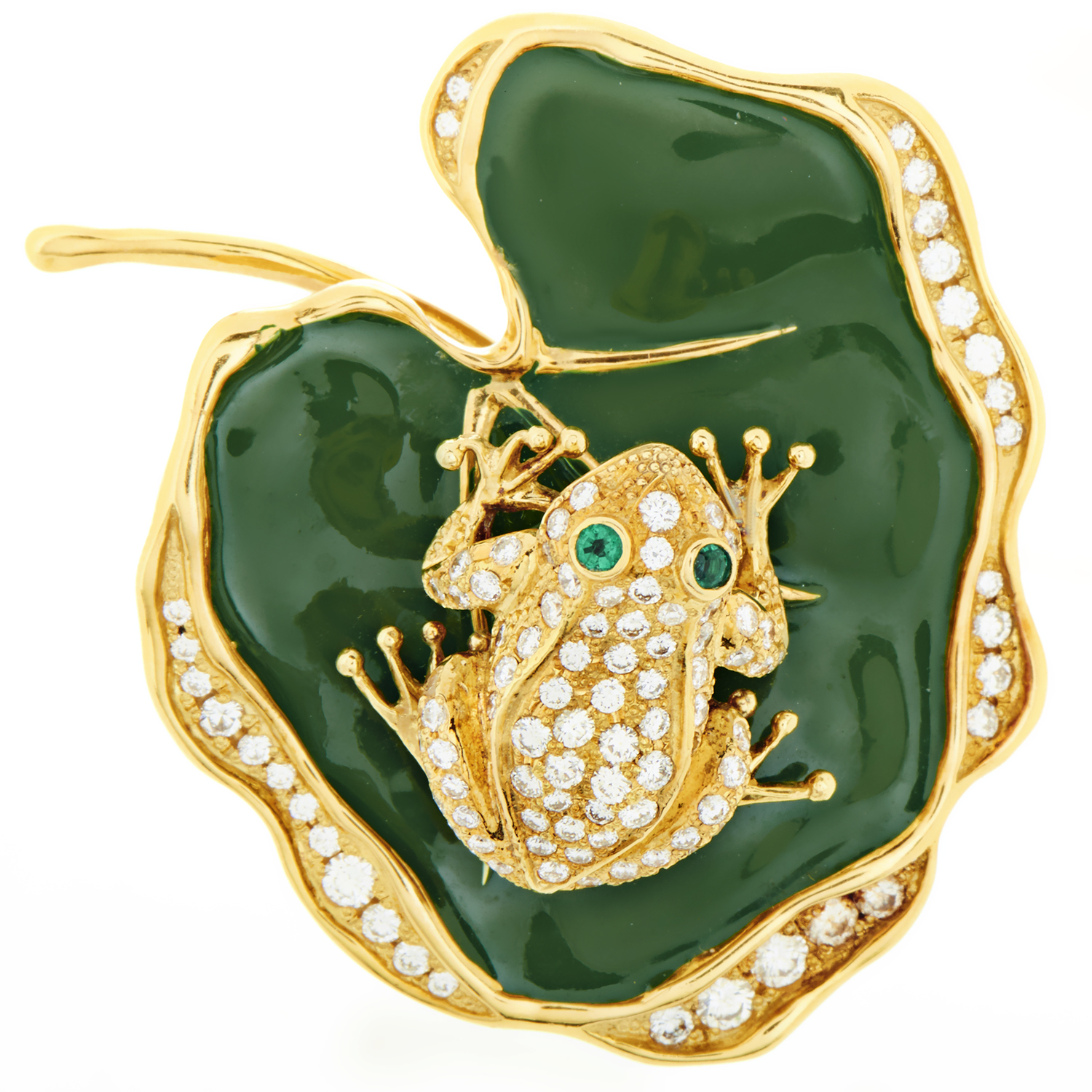 Waltham Enameled Yellow Gold Diamond & Emerald Frog on Lily Pad Pendant/Brooch