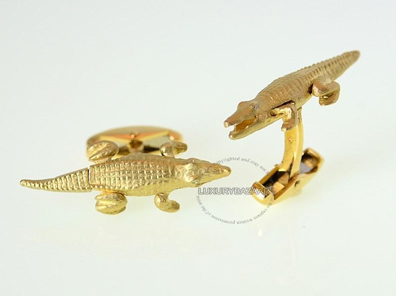 18K Yellow Gold Alligator Cufflinks