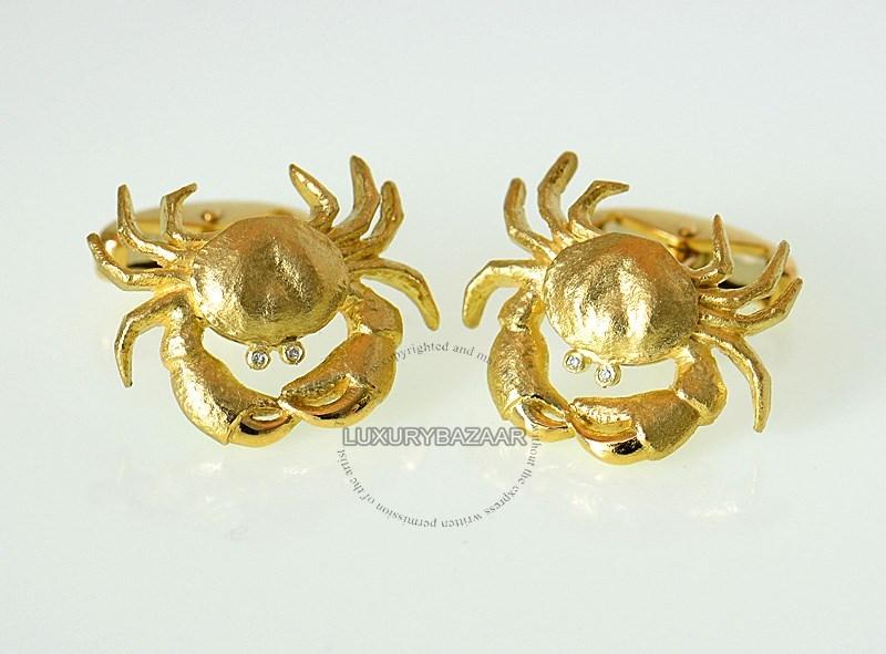 18K Yellow Gold Crab Cufflinks