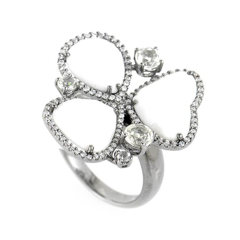 18K White Gold Diamonds & White Onyx Ring