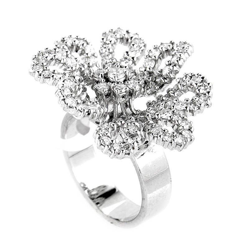 Lavish 18K White Gold Diamond Frosted Flower Ring CRR1197