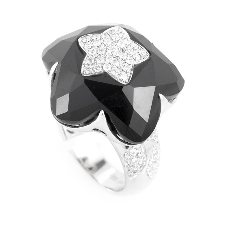18K White Gold Onyx Star & Diamond Ring