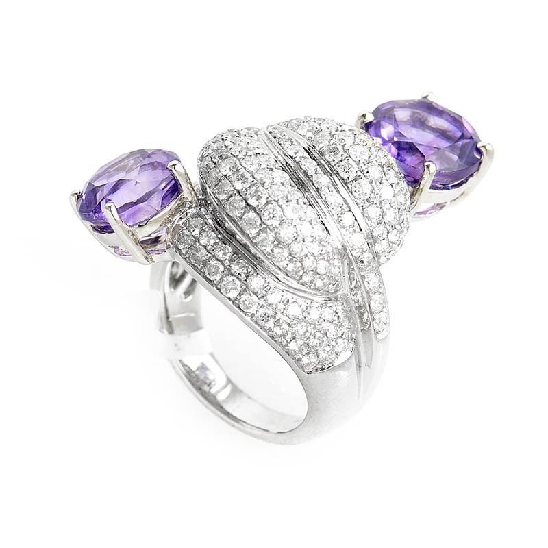 Unique 18K White Gold Diamond & Amethyst Ring