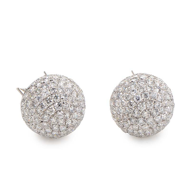 Details About 18k White Gold Diamond Pave Earrings Ced7660 Lbe