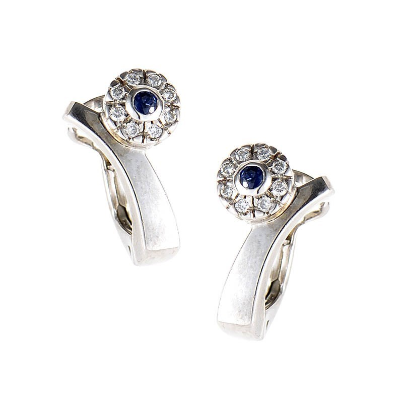 18K White Gold Sapphire & Diamond Flower Earrings