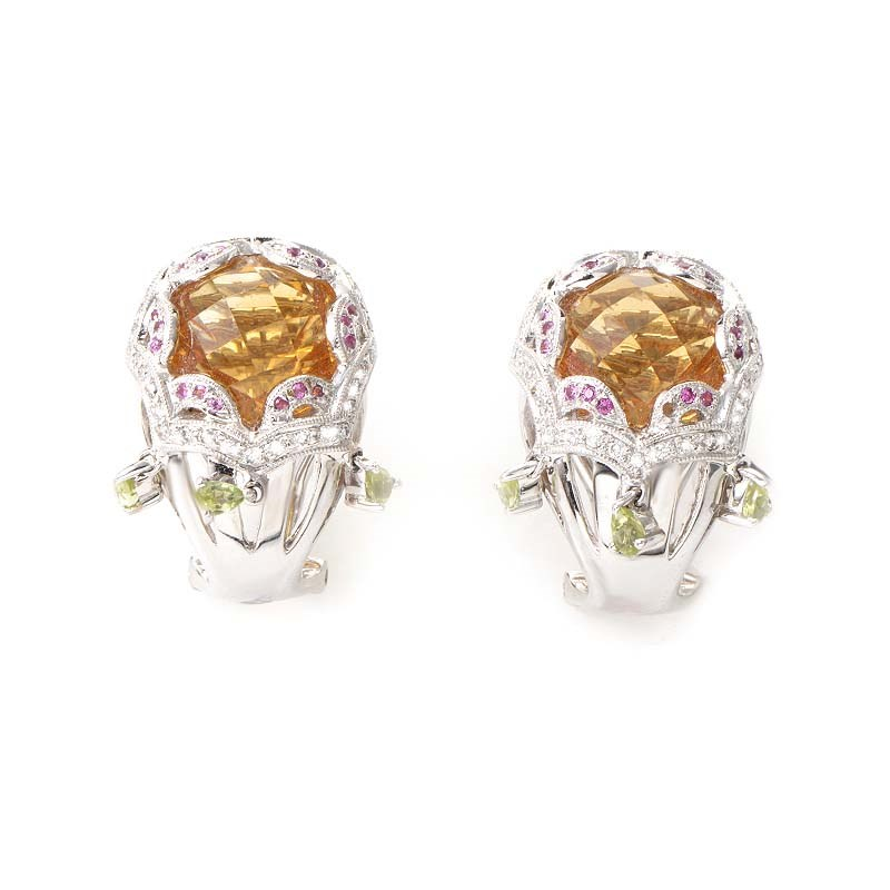 18K White Gold Rainbow Gem Huggie Earrings